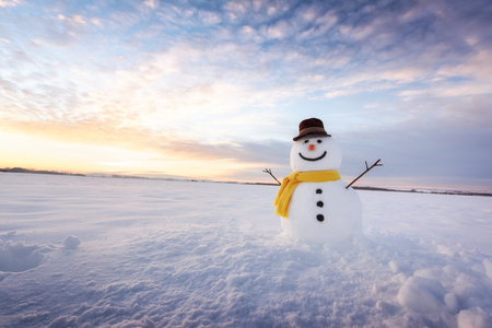 Photo for Funny snowman in black hat - Royalty Free Image