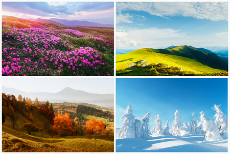 Photo pour Four season nature landscapes in mountains. - image libre de droit