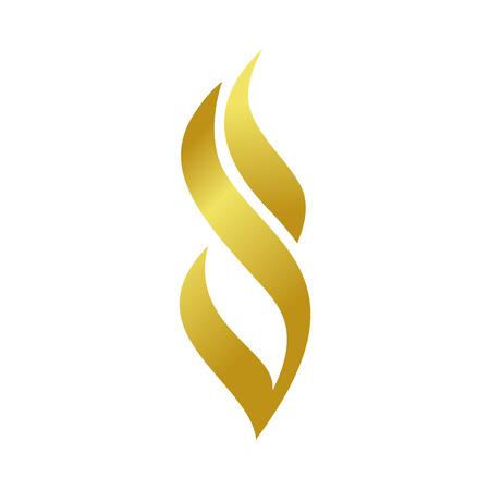 Ilustración de Golden Abstract Fire Flame Shape Vector Symbol Graphic Logo Design Template - Imagen libre de derechos