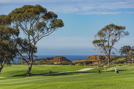 Photo for Golf Course at Torrey Pines with Pacific Ocean in the background La Jolla California USA near San Diego - Royalty Free Image