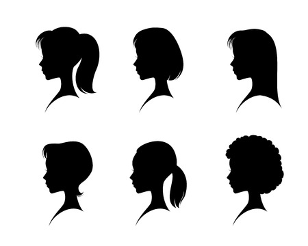 Ilustración de Vector illustration of a silhouettes head girls - Imagen libre de derechos