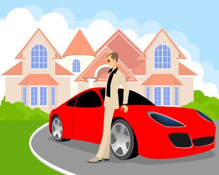 Photo pour Vector illustration of a rich young man - image libre de droit