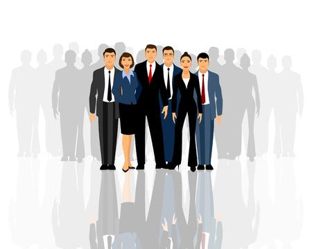 Illustrazione per Vector illustration of a big business team - Immagini Royalty Free
