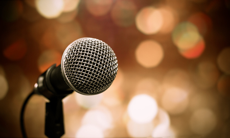 Photo pour Blurred of microphones in seminar room, talking speech in conference hall light with microphone and keynote. - image libre de droit