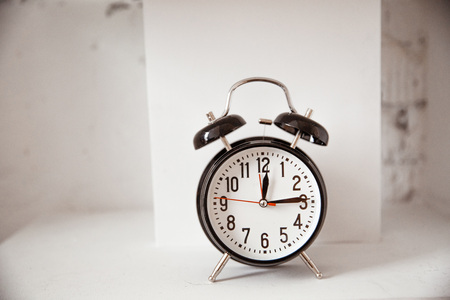 Photo for Black retro alarm clock on isolated background / clipping paths - Royalty Free Image