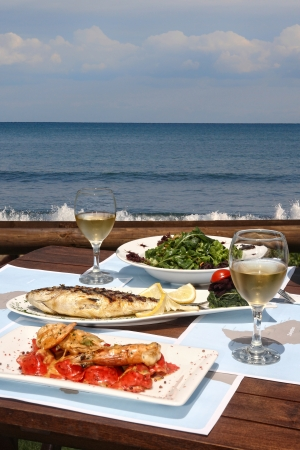healthy seafood  for two by the sea