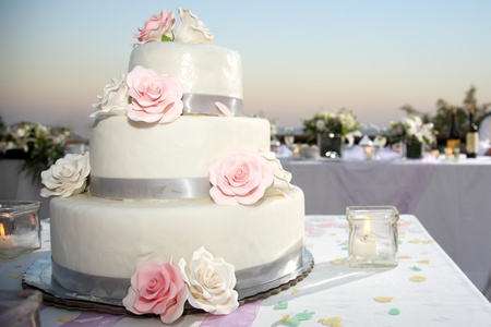 wedding cake beautiful decorated with roses