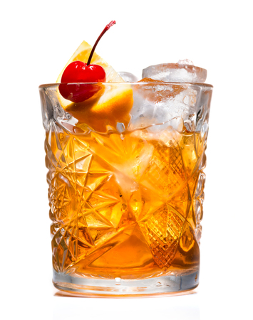 Photo for closeup of Cocktail old fashion on a light background - Royalty Free Image