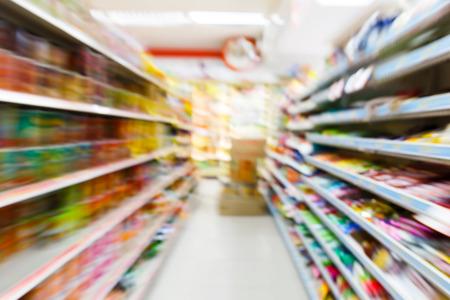 Foto de Blurry convenience store shot by moving camera with slow shutter speed - Imagen libre de derechos
