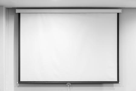 Photo pour Blank projector screen in seminar room, education concept - image libre de droit
