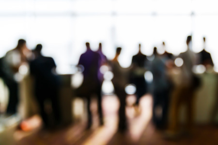 Foto de Abstract blurred people in press conference event, business concept - Imagen libre de derechos