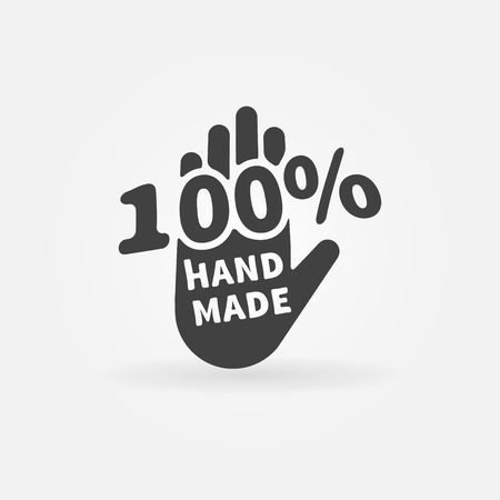 Illustration for Hand made vector label or icon - 100 percent handmade black logo - Royalty Free Image
