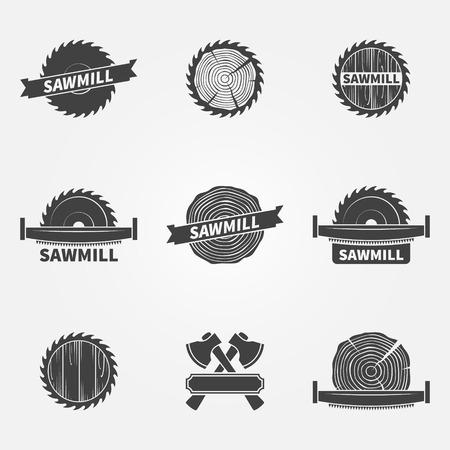 Illustration pour Sawmill logo or label - vector set of dark carpentry symbols or badges - image libre de droit