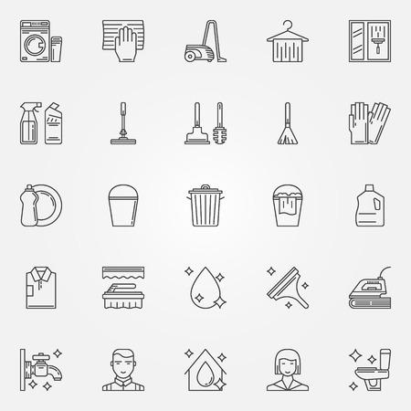 Ilustración de Cleaning icons set linear cleaning tools signs - Imagen libre de derechos