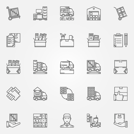 Illustration pour House or office moving icons - vector set of moving services symbols in thin line style. Linear transporting and delivery signs - image libre de droit