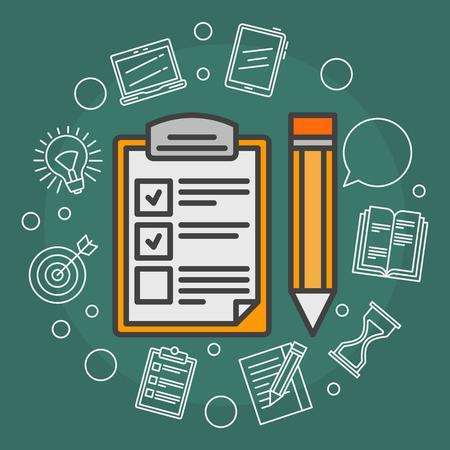 Illustration pour To Do List vector illustration - flat reminder concept background with outline icons - image libre de droit