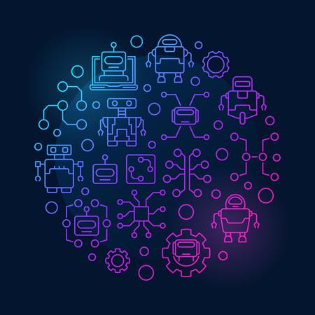 Illustration pour Artificial intelligence round colorful illustration. - image libre de droit