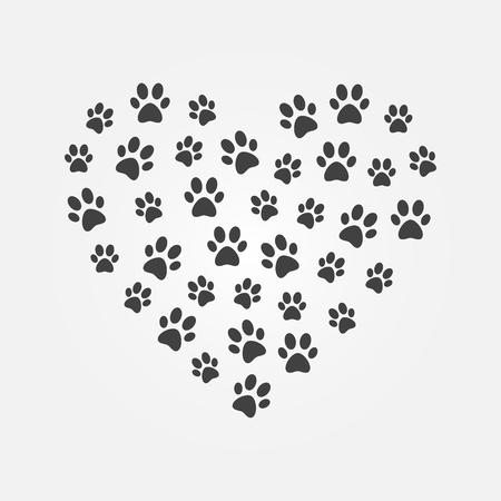 Ilustración de Dark cat footprints in heart shape vector illustration. - Imagen libre de derechos
