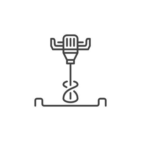 Illustration pour Electrical Concrete Hand Mixer vector icon in thin line style - image libre de droit
