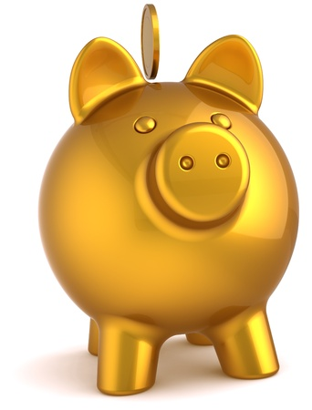 Piggy bank total golden with coin over it. Business money donate banking savings luxury concept. This is a detailed three-dimensional render 3d (Hi-Res). Isolated on white background