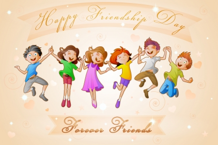 Illustration for Kids celebrating Friendship Day - Royalty Free Image