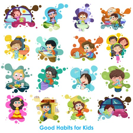 Illustration for easy to edit vector illustration of good habits chart - Royalty Free Image