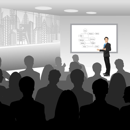 Illustration for easy to edit vector illustration of businessman giving presentation - Royalty Free Image
