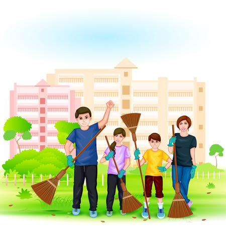 Illustration for easy to edit vector illustration of people involved in Go Green Go Clean Mission - Royalty Free Image