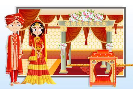 Illustration pour vector illustration of Indian wedding couple - image libre de droit