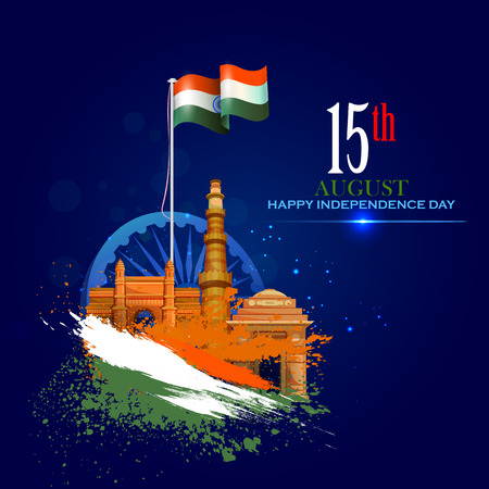 Illustration for Monument and Landmark of India on Indian Independence Day celebration background - Royalty Free Image