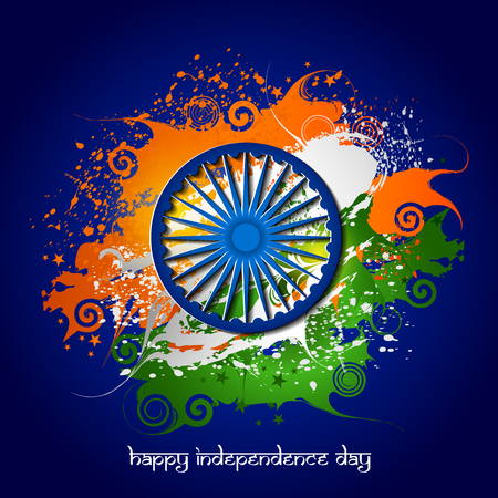 Illustration for Easy to edit vector illustration of Ashoka Chakra on Happy Independence Day of India background. - Royalty Free Image