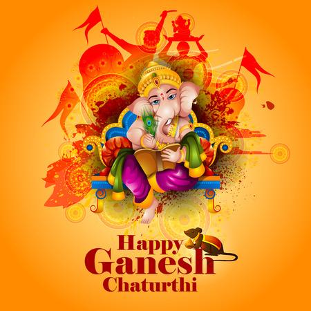 Illustration pour Lord Ganpati on Ganesh Chaturthi in amber background - image libre de droit