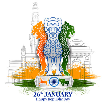 Illustration pour easy to edit vector illustration of Happy Republic Day of India tricolor background for 26 January - image libre de droit