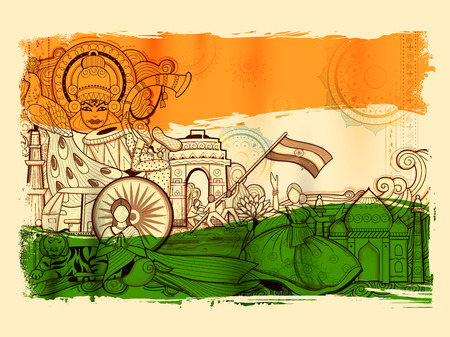 Illustration for India background showing its incredible culture and diversity with monument, dance and festival - Royalty Free Image
