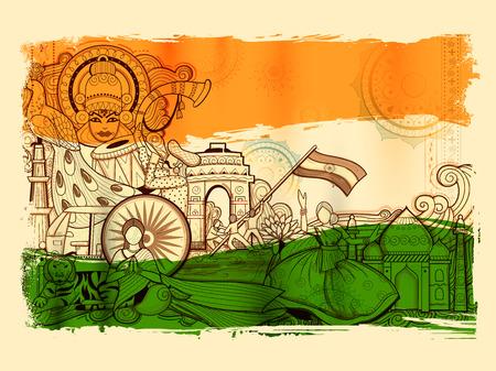Ilustración de India background showing its incredible culture and diversity with monument, dance and festival - Imagen libre de derechos
