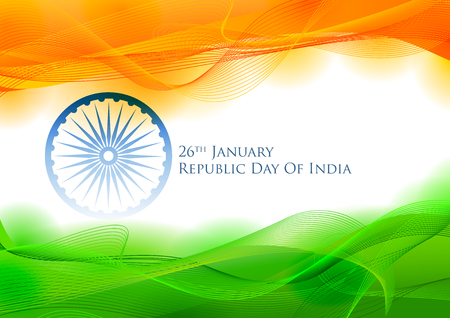 Ilustración de Tricolor banner with Indian flag for 26th January Happy Republic Day of India - Imagen libre de derechos