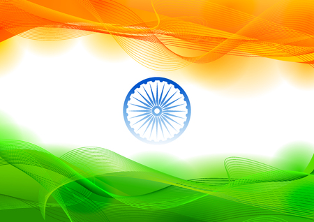 Ilustración de Illustration of tricolor banner with Indian flag for 26th January Happy Republic Day of India. - Imagen libre de derechos