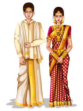 Photo pour easy to edit vector illustration of Andhrait wedding couple in traditional costume of Andhra Pradesh, India - image libre de droit