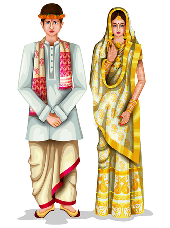 Photo pour easy to edit vector illustration of Assamese wedding couple in traditional costume of Assam, India - image libre de droit