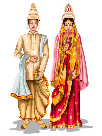 Photo pour easy to edit vector illustration of Bengali wedding couple in traditional costume of West Bengal, India - image libre de droit