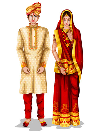 Illustration for easy to edit vector illustration of Bihari wedding couple in traditional costume of Bihar, India - Royalty Free Image