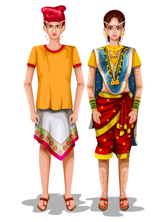 Photo pour easy to edit vector illustration of Goan wedding couple in traditional costume of Goa, India - image libre de droit