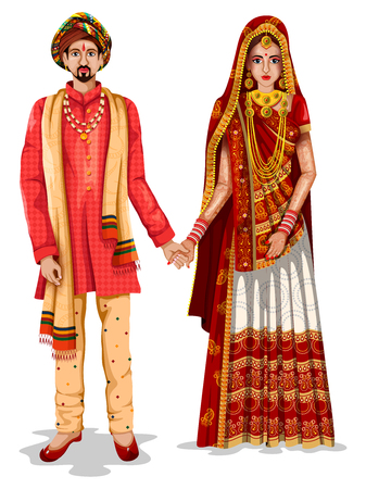 Photo pour easy to edit vector illustration of Gujarati wedding couple in traditional costume of Gujarat, India - image libre de droit