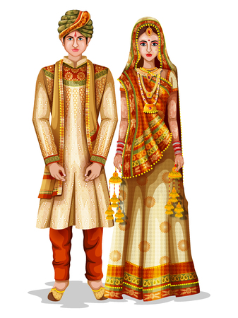 Photo pour Easy to edit vector illustration of Haryanvi wedding couple in traditional costume of Haryana, India - image libre de droit