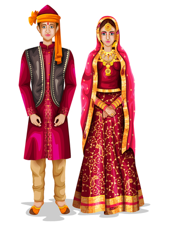 Illustration pour easy to edit vector illustration of Kashmiri wedding couple in traditional costume of Jammu and Kashmir, India - image libre de droit