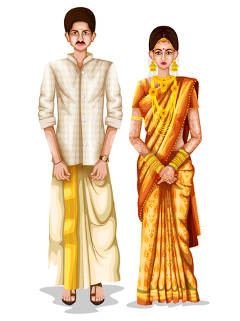 Photo pour easy to edit vector illustration of Keralite wedding couple in traditional costume of Kerala, India - image libre de droit