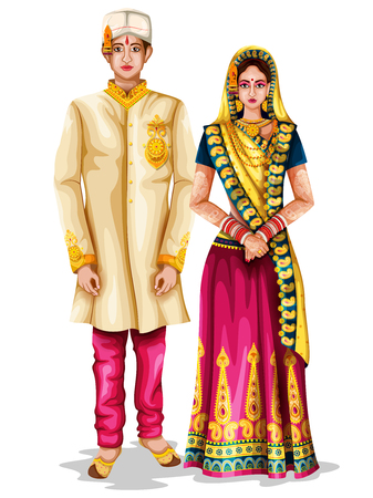 Photo pour easy to edit vector illustration of Madhya Pradeshi wedding couple in traditional costume of Madhya Pradesh, India - image libre de droit