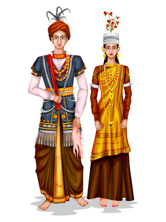 Illustration pour easy to edit vector illustration of Meghalayan wedding couple in traditional costume of Meghalaya, India - image libre de droit