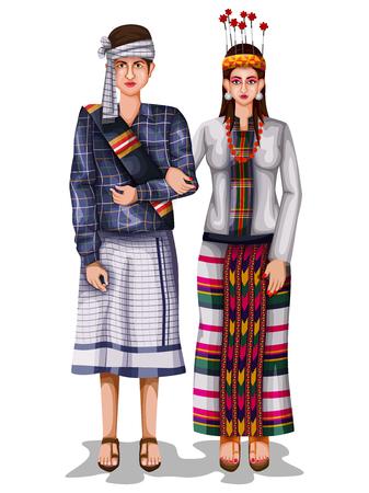 Illustration for Mizo wedding couple in traditional costume of Mizoram, India - Royalty Free Image