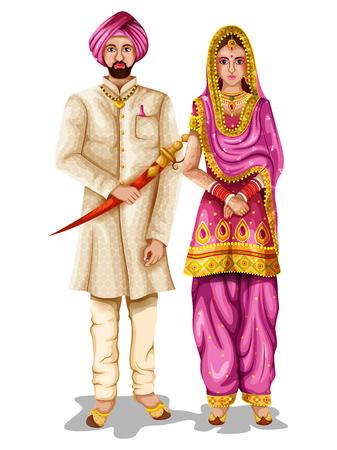 Illustration for Punjabi wedding couple in traditional costume of Punjab, India - Royalty Free Image